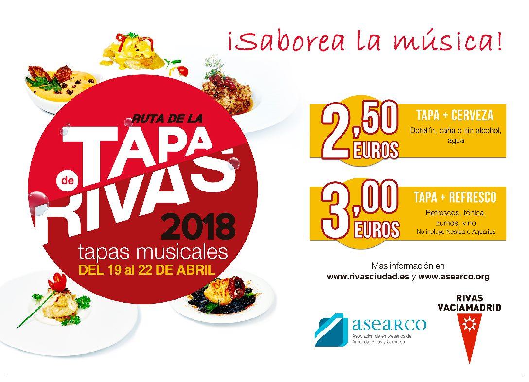 """Un total de 41 establecimientos hosteleros participarán en la III Ruta de la Tapa de Rivas Vaciamadrid, """"Tapas Musicales"""" (del 19 al 22 de abril)"""