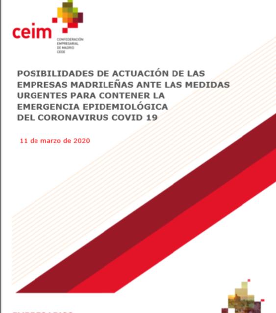 Coronavirus: cómo actuar en la empresa (Informe ofrecido por la patronal madrileña, CEIM)
