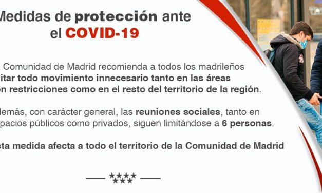 La Comunidad de Madrid incluye ocho nuevas zonas sanitarias con restricciones