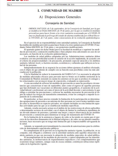 Las nuevas medidas preventivas de la Comunidad de Madrid para frenar los rebrotes que han entrado en vigor