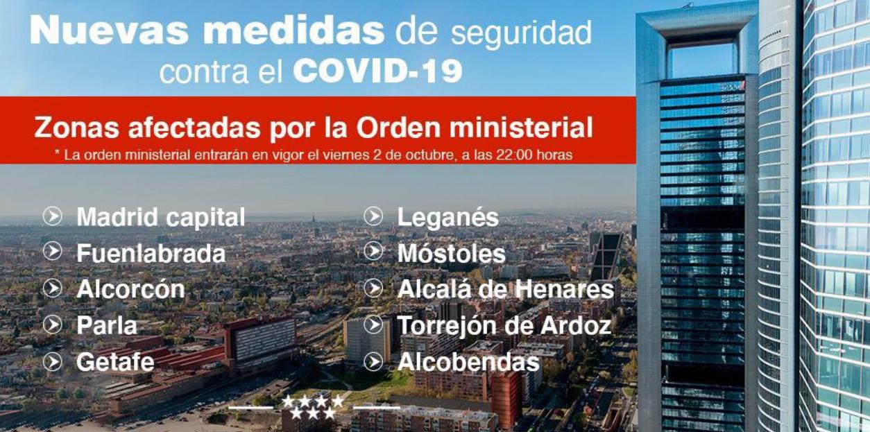 El BOCM publica una nueva orden con las medidas del Ministerio de Sanidad que contempla restricciones para la capital y 10 municipios de la región