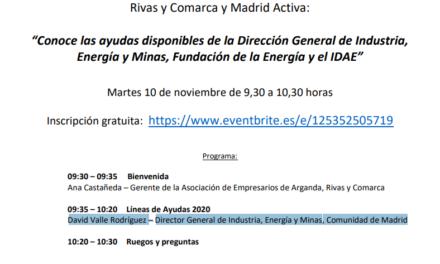 'Conozca las ayudas que ofrece la Dirección General de Industria, el IDAE y la Fundación de la Energía' en un encuentro virtual gratuito que se celebrará el próximo 11 de noviembre