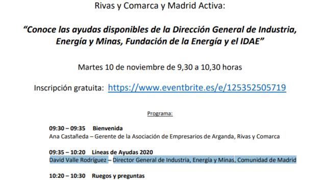 'Conozca las ayudas que ofrece la Dirección General de Industria, el IDAE y la Fundación de la Energía' en un encuentro virtual gratuito que se celebrará el próximo 10 de noviembre