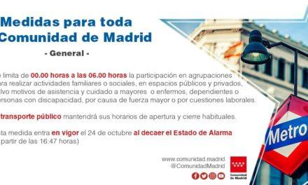 Finalizarán las restricciones de movilidad en Arganda el lunes, pero la Comunidad de Madrid establece nuevos límites de aforos y horarios