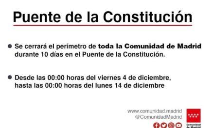 La Comunidad de Madrid quedará cerrada 10 días en el Puente de la Constitución