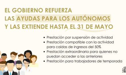 Extendidas las medidas de apoyo a los autónomos hasta el 31 de mayo