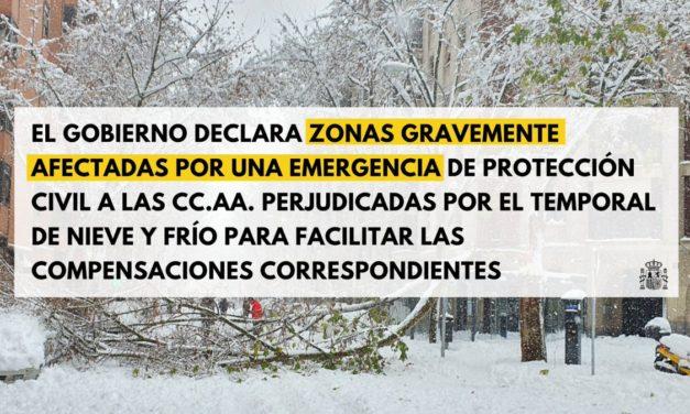 El Gobierno de España declara la Comunidad de Madrid zona catastrófica por el temporal Filomena