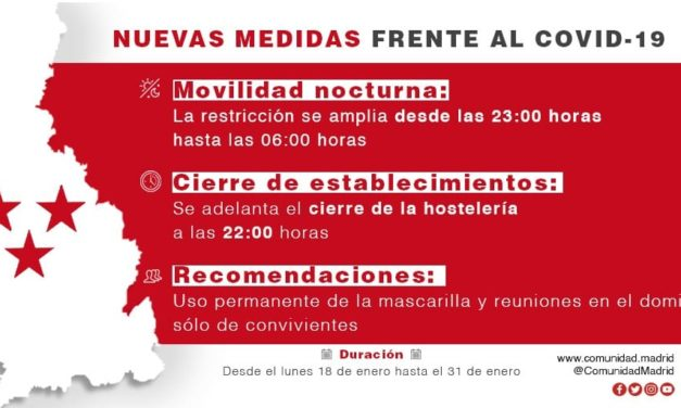 La Comunidad de Madrid anuncia el cierre de la hostelería a las 22:00 horas y adelanta el toque de queda a las 23:00 horas
