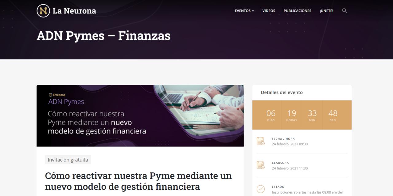 """WEBINARIO: """"Cómo reactivar nuestra Pyme mediante un nuevo modelo de gestión financiera"""""""