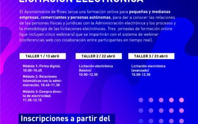 Webinarios del Ayuntamiento de Rivas para aprender a licitar electrónicamente con la administración local