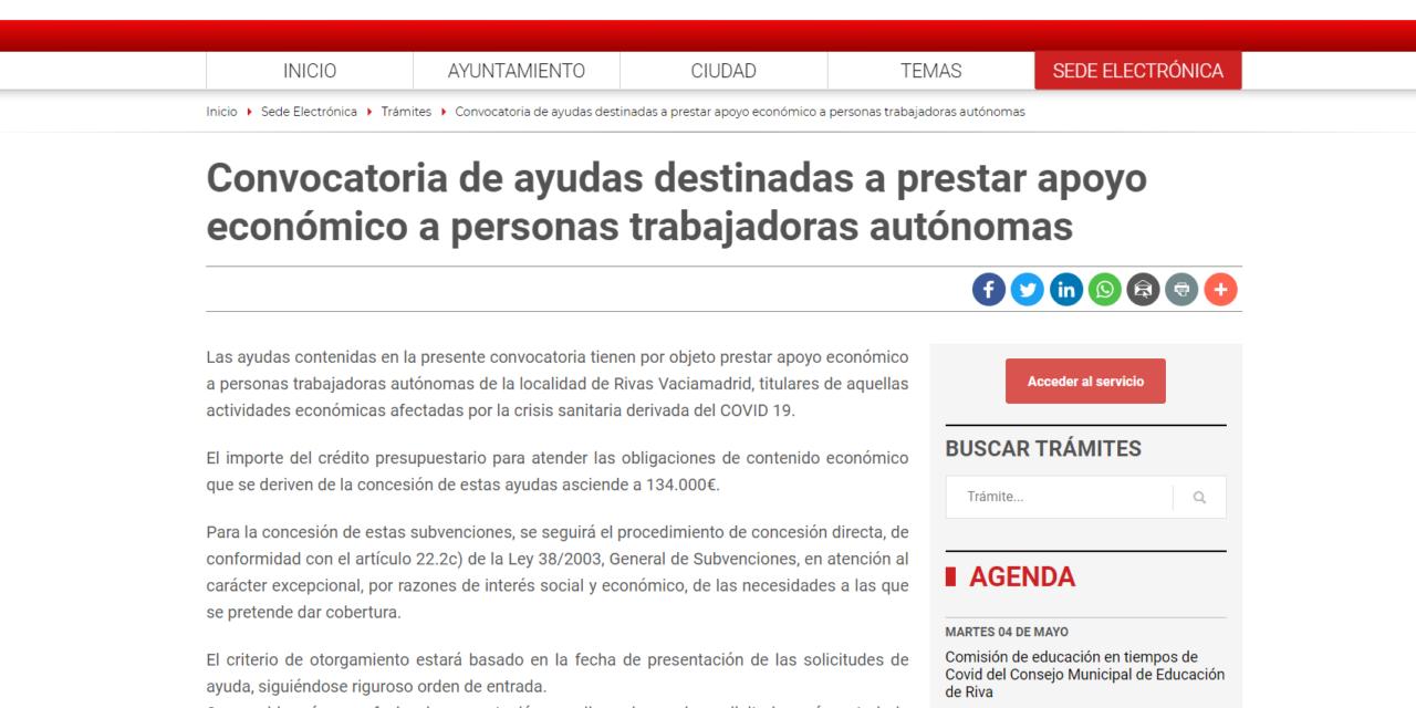 Comienza hoy el plazo para solicitar las Ayudas Directas para Autónomos de Rivas Vaciamadrid
