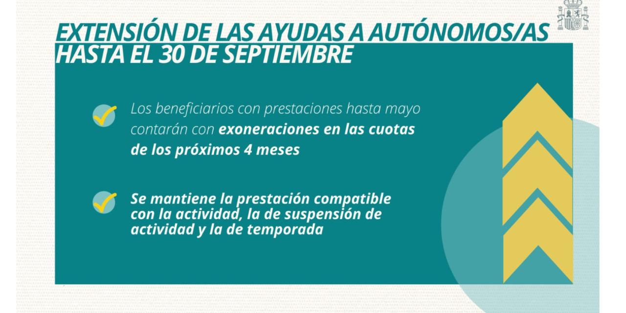 Se mantienen las AYUDAS especiales para AUTÓNOMOS también hasta el 30 de septiembre